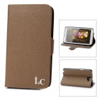 Lychee Pattern Protective PU Leather Case for Samsung Galaxy Note II N7100 - Brown