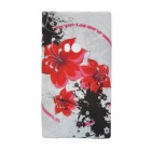 Red Flowers Pattern Protective Silicone Back Case for Nokia Lumia 920 - White + Black + Red