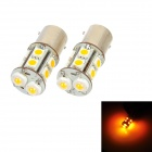 PointPurple D1112Y 1156 5W 180lm 590nm 2-LED + 10-SMD 5050 LED Yellow Light Car Steering Lamps (12V)