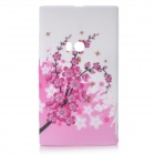 Plum Blossom Style Protective Soft Silicone Back Case for Nokia Lumia 920 - Pink + White