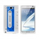 Protective Silicone Back Case for Samsung Galaxy Note II N7100 - White + Dark Blue