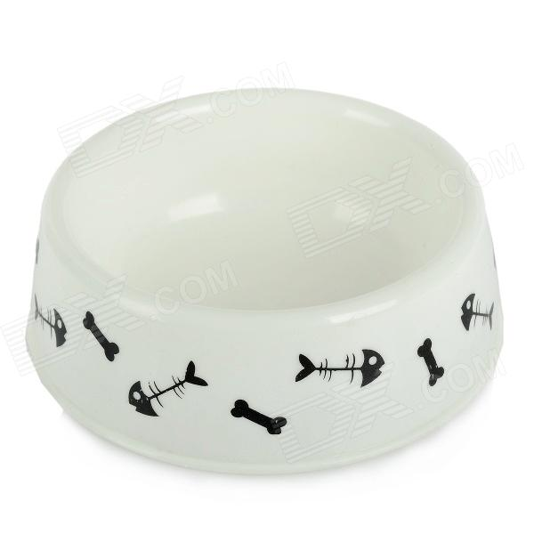 Bone / Fishbone Pattern Plastic Pet Cat / Dog Bowl - White + Black