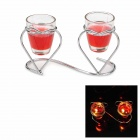 LZ001 Romantic Heart Style Iron Stand w/ Cup Candles - Silver + Red (Pair)