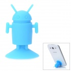 Mini Cute Android Robot Style Rubber Desktop Suction Cup Holder for iPhone 5 / Cell Phone - Blue