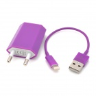 EU Plug Charger + USB Cable for iPhone 5 - Purple (AC 100~240V)