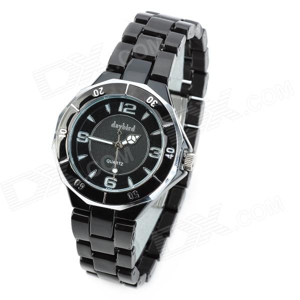 Daybird 3702 Fashionable Ceramic Band Quartz Women's Wrist Watch - Black (1 x LR626)