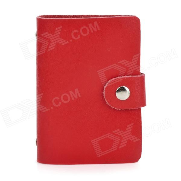 Fashionable Artificial Leather Bank Card Case for Women - Red (18 Sheets)