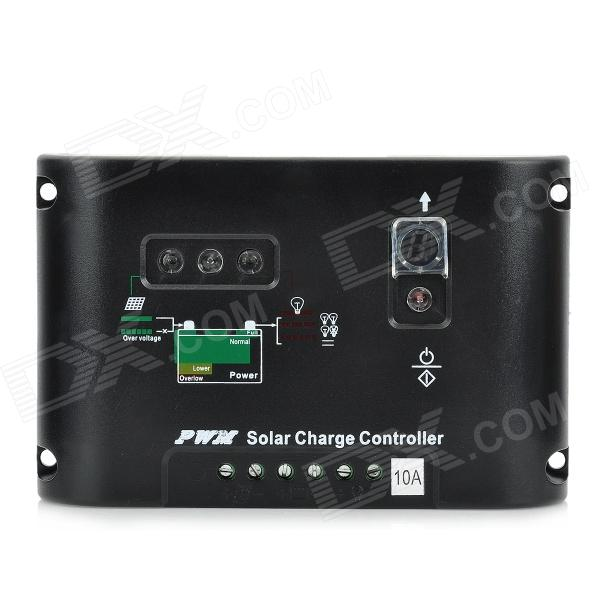 12V/24V 10A Solar Powered Charging Controller - Black
