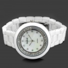 Daybird 3721 Ceramic Band Quartz Women's Wrist Watch w/ Crystal- White (1 x LR626)