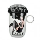Afro Head Sexy Girl Style Color Changing Mug - White + Black (200ml)