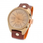 Retro Zinc Alloy Case Genuine Cow Leather Band Quartz Analog Wrist Watch - Brown (1 x 377)