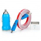 Car Charger + Charging Adapter + Smile Face USB Data Cable for iPhone 3G + More - Blue + Red + White