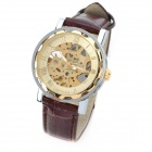 OMEIJIA OMJ-21G Stylish Stainless Steel Case Mechanical Analog Men's Wrist Watch - Golden + Brown