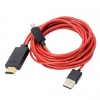 3-in-1 Micro USB MHL to HDMI Data Cable for Samsung Galaxy S3 / i9300 + More - Red + Black (200cm)