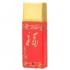 20782 Elegant Porcelain USB 2.0 Flash Drive Disk w/ Chinese Knot Strap - Red + Golden (4GB)