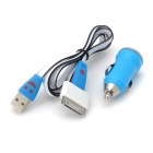 Car Charger + 30-Pin-Stecker an Micro-USB-Adapter + USB Daten / Ladekabel für iPhone - Blau + Weiß