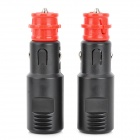 002512 DIY Car Cigarette Lighter Plugs - Black + Red (DC 5~48V / 2 PCS)