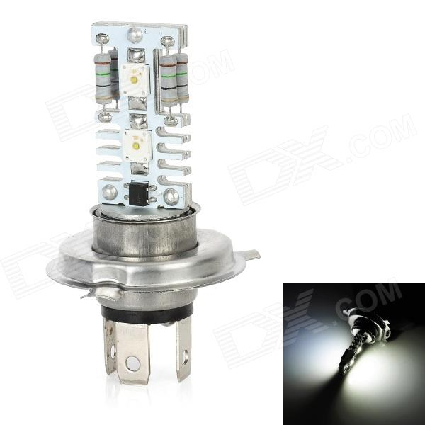 H4 12W 600lm 6500K 4-LED White Light Car High Beam Dipped Headlight Lamp - Silver + White (DC 12V) highlight h3 12w 600lm 4 smd 7060 led white light car headlamp foglight dc 12v