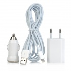 Car Charger + Power Adapter + 8-pin Lightning to USB Data Cable for iPhone 5 / iPad + More - White