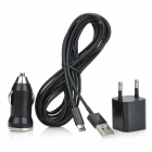 Car Charger + Power Adapter + 8-pin Lightning to USB Cable for iPhone 5 / iPad 4 + More - Black