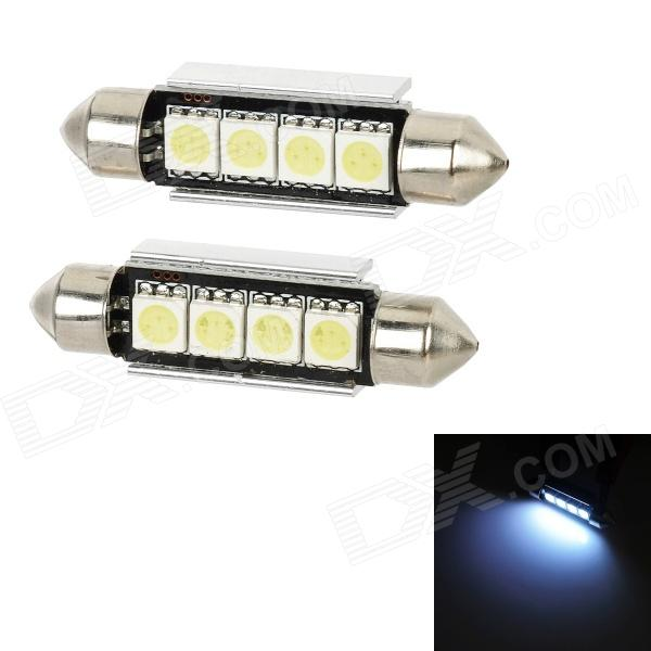 LY141 Festoon 40mm 1.2W 48lm 6000K 4-SMD 5050 LED White Light Car Interior / Roof Lamp (12V / Pair) cyan soil bay amber 48 led car truck roof top emergency hazard warning strobe flash light lamp