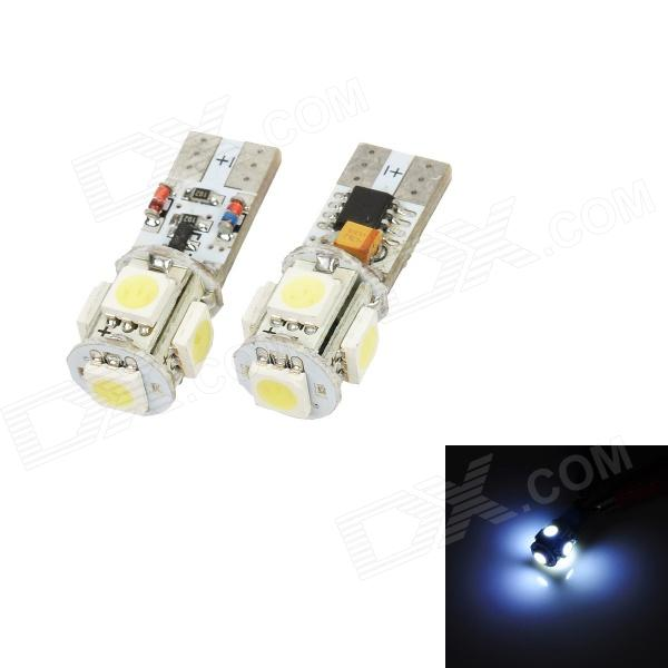 T10 1.5W 50lm 5-SMD 5050 LED White Light Car Width Bulb - White + Silver + Yellow (2 PCS / DC 12V) highlight h3 12w 600lm 4 smd 7060 led white light car headlamp foglight dc 12v