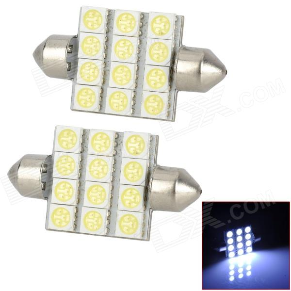 Festoon 39mm 3.6W 120lm 12-5050 SMD LED de la lámpara de coches Lectura / Interior (12 V / 2 PCS)