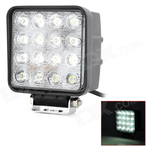 48W 6000K 3520lm 30 Degree 16-LED White Vehicle Work Light - Black + White foxstar 36w led work light offroad 4x4 off road light bar for atv suv truck boat spot flood combo beam 2880lm universal