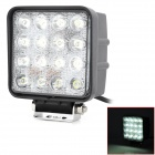 48W 6000K 3520lm 30 Degree 16-LED White Vehicle Work Light - Black + White