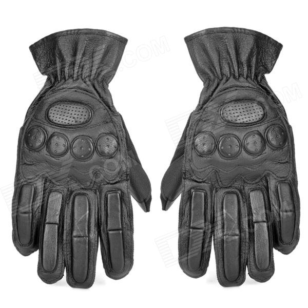 SW3068 Collision Resistant Cow Leather Tactical Sports Full-Finger Gloves - Black (Size L / Pair)