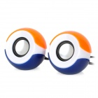 WuJiXian 3102 Mini Portable 2-Channel Speaker - Blue + Orange + White