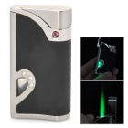Windproof Green Flame LED Backlight Stainless Steel Butane Jet Torch Lighter - Black + Silver