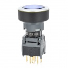 002011 Car Self-Locking Push Button Switch w/ Blue LED Indicator - Black (DC 12V)