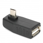 SJ-02 90 Degree Left Micro USB Male to USB Type-A Female Adapter for Samsung i9100 - Black
