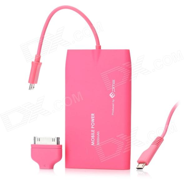 PME NT-30 3000mAh Mobile Power Battery Charger for iPhone / BlackBerry / HTC / Samsung - Deep Pink