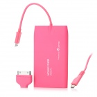 PME NT-30 3000mAh Mobile Power Battery Charger für iPhone / BlackBerry / HTC / Samsung - Deep Pink