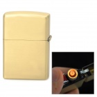 USB Rechargeable Windproof Zinc Alloy Electronic Cigarette Lighter - Golden