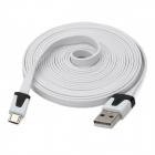 V8 Micro USB to USB Flat Cable for Samsung / HTC - White (300cm)