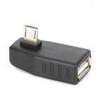 SJ-01 90 Degree Right Micro USB Male to USB Type-A Female Adapter for Samsung i9100 - Black