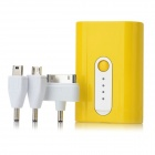 2500mAh 5V External Power Battery Charger w / Adapter für iPhone + Samsung Handy + More - Yellow