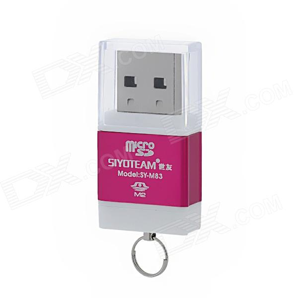 SY-M83 High Speed USB 2.0 M2 / TF Card Reader - Deep Pink + White