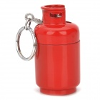 D001 Cool Gas Jar Shape Butane Yellow Flame Lighter w/ Keychain - Red