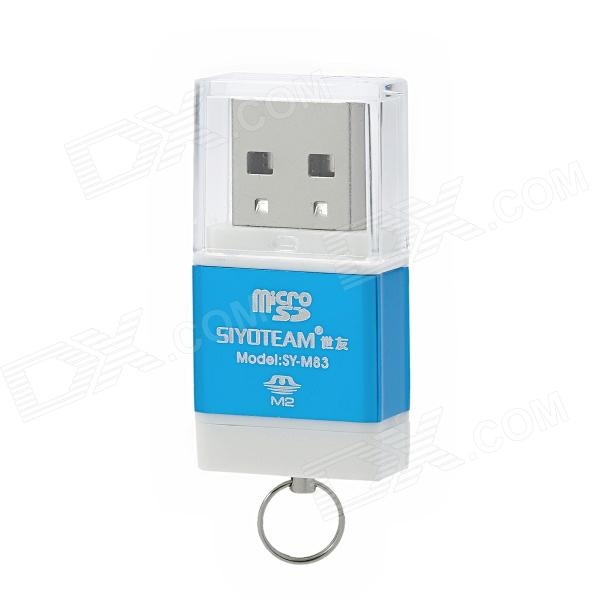 SIYOTEAM SY-M83 High-Speed USB 2.0 M2 / TF Card Reader - Blue + White