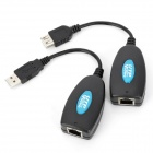 UTP601USB-M UTP-USB Extender Over Cat5e Cable via RJ45 Extender Adapter - Black (2 PCS)