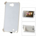 3200mAh Protective External Battery Charger Back Case w/ Holder for Samsung N7100 - White + Silver