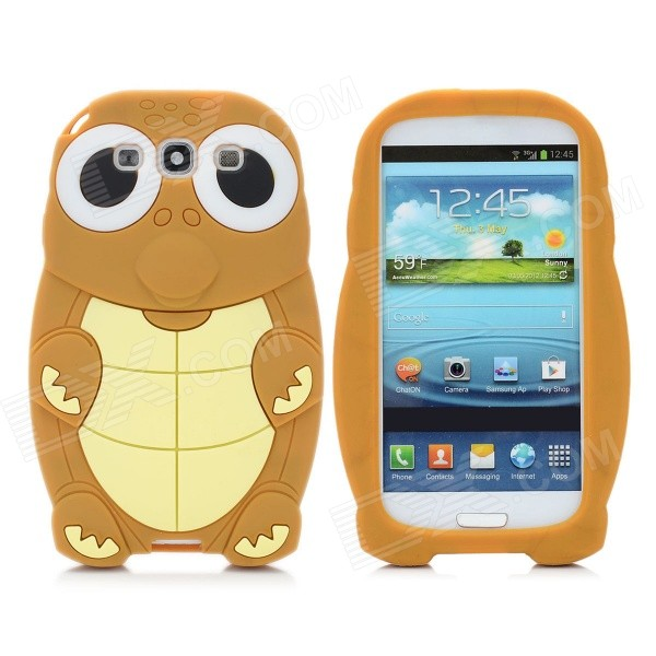 Cartoon Sea Turtle Style Protective Silicone Back Cover Case for Samsung i9300 - Coffee + Yellow cute cartoon turtle style protective silicone back case for iphone 4 4s yellow
