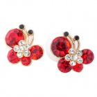 MaDouGongZhu R085-10 Butterfly Style Alloy + Rhinestone Lady's Ear Studs - Red