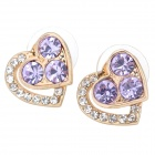 MaDouGongZhu R074-2 Heart Style Alloy + Rhinestone Lady's Ear Studs - Golden + Purple