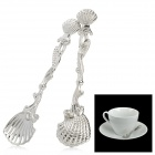 Retro Seashell Shape Metal Engraving Coffee Spoons - Silver (2 PCS)