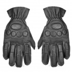 SW3067 Collision Resistant Cow Leather Tactical Sports Full-Finger Gloves - Black (Size M / Pair)